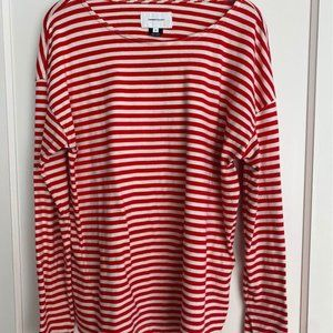 Current Elliot long sleeve striped tee size 2 red